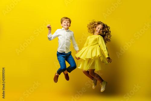 jumping happy children