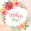 Happy mother's day. Greeting card with mother's day. Floral background.