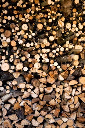 In de dag Brandhout textuur Pile of dry stacked firewood for winter
