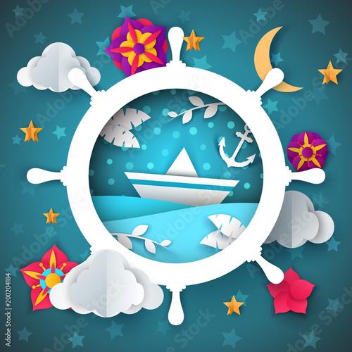 Ilustracja statku. Liść, łódź, kwiat, księżyc gwiazdy chmury krajobrazu wektor eps 10