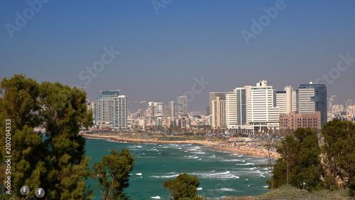 Widok na zatokę Morza śródziemnego w Tel Awiwie, Izrael, z piaszczystą plażą i nowoczesnymi wysokimi budynkami na nabrzeżu, na pierwszym planie drzewa  w parku w Hajfie, fale na szmaragdowej wodzie