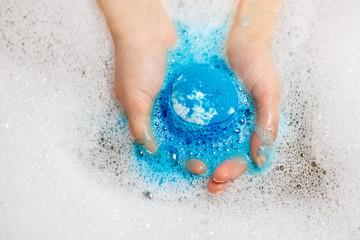 Blue Bath Bomb In Water