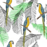 Tropical seamless vector pattern with parrot and leaves. - 200206944