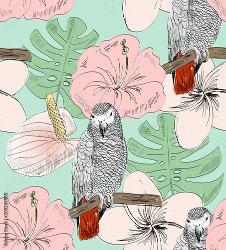 Tropical seamless vector pattern with parrot and flowers. - 200206988