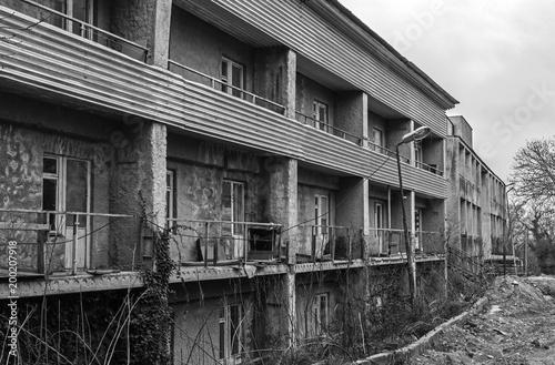 Fotobehang Oude verlaten gebouwen The abandoned building of the old recreation center