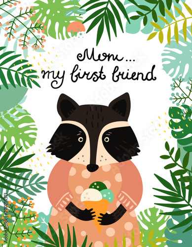 Cute baby raccoon character. Hand drawn vector illustration. Summer tropical jungle set. - 200214513