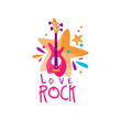 Original music logo template with electric guitar and stars. Vector emblem for rock festival, musical instrument store, record studio