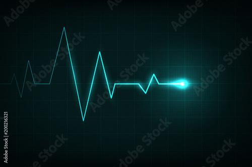 Heartbeat Line Art : Creative vector illustration of heart line cardiogram isolated on