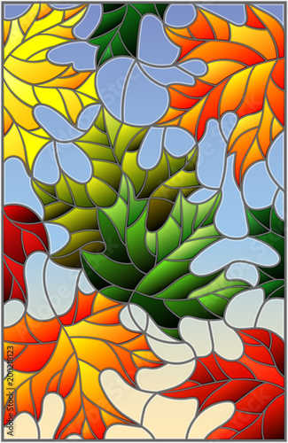 illustration-in-stained-glass-style-with-colorful-maple-leaves-on-blue-background