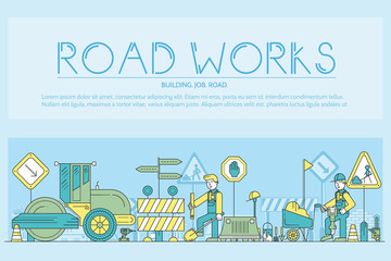 People at road works vector outline concept. Heavy vehicles making the road maintenance thin line illustration. Banner with typography slogan text design.