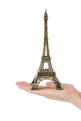 Paris Eiffel tower souvenir in hand