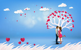 Red heart flower on pink background with  couple kissing under love tree on vacation summer holidays romance. Happy Valentine's Day wallpaper, poster, card. Vector illustration - 200219964