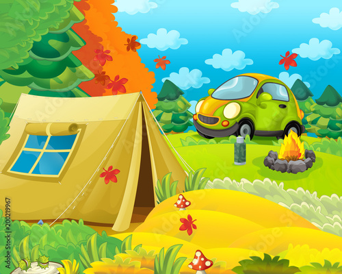 Fotobehang Meloen Cartoon scene of camping in the forest with car - illustration for children