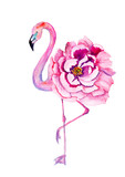 Watercolor flamingo with exotic flowers. Hand drawn illustration.