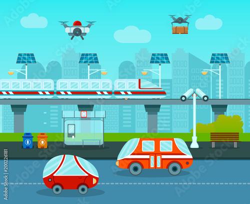 Plexiglas Turkoois City Of Future Composition
