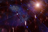 Abstract digital computer network with binary numbers, ray of lights and flare illustration. - 200226991
