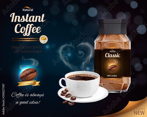 Instant Coffee Realistic Composition