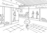 Shopping mall graphic black white interior sketch illustration vector - 200228710