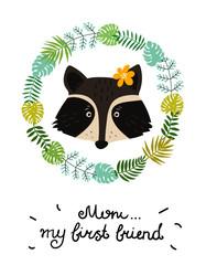 Cute baby raccoon character. Hand drawn vector illustration. Summer tropical jungle set.