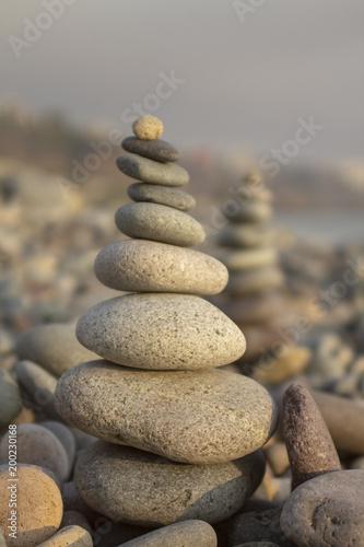 In de dag Stenen in het Zand Zen Rocks Balance