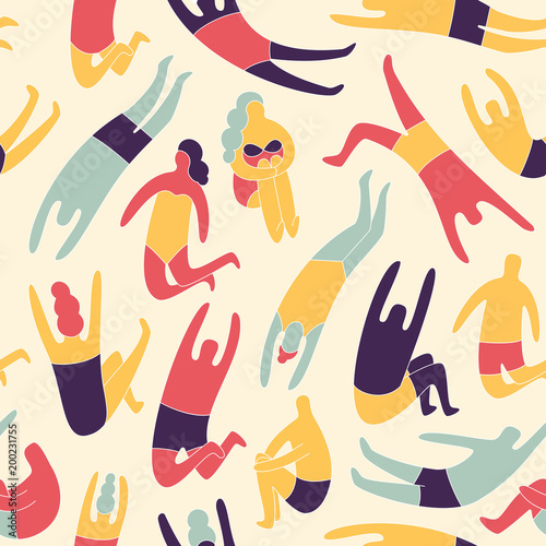 Cotton fabric People on a beach. Seamless vector pattern