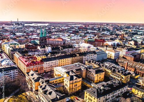 SUNSET AERIAL VIEW OF HELSINKI CITY-  FINLAND - 200232374