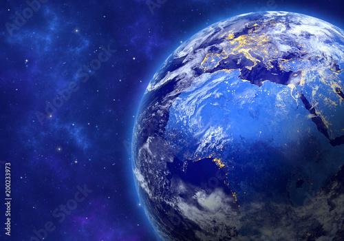 Planet Earth in space. Africa, part of Europe and Asia. Elements of this image furnished by NASA. 3D rendering.