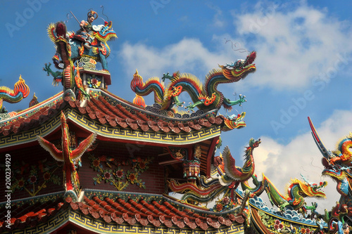 Dragons traditional roof decoration, Taiwan