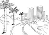 City desert road graphic black white landscape sketch illustration vector  - 200237576