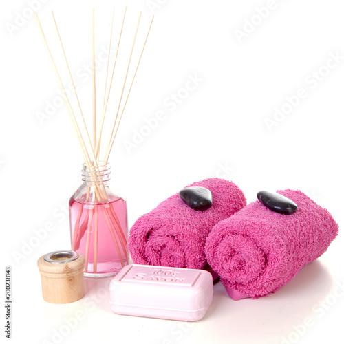 Foto op Canvas Zen Pink spa accessories