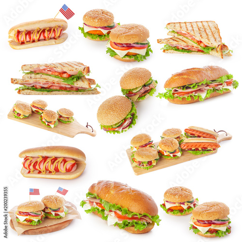 Junk fast food collage of burgers, sandwiches and hot-dogs isolated on white background