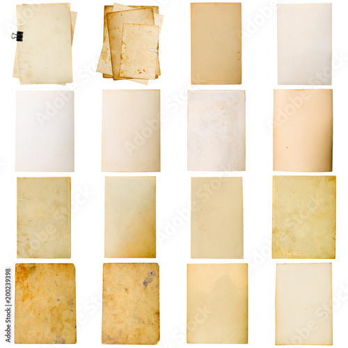 Retro weathered paper collage isolated on white background