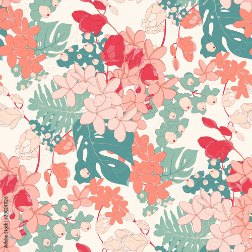 Vintage Tropical Pink Seamless Vector Wallpaper