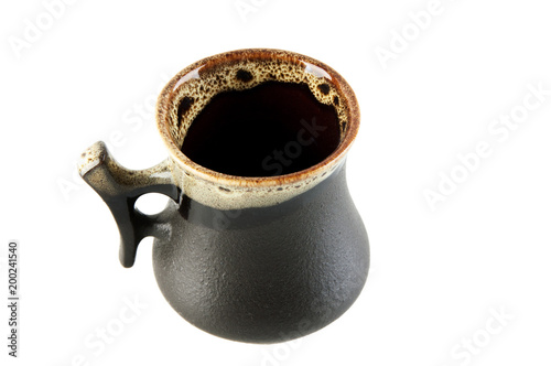 Black ceramic coffee cup isolated on white