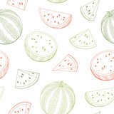 Watermelon graphic green red color seamless pattern sketch illustration vector - 200242746