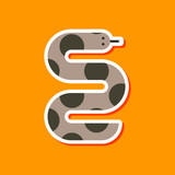 paper sticker on stylish background wildlife snake