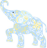 Drawing of a small elephant, Vector childrens ornament, cub of a mammoth with flowers, design on the body of a mammal