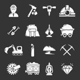 Mining minerals business icons set grey vector