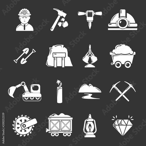 Górnicze kopaliny biznesowe ikony ustawiają szarego wektor