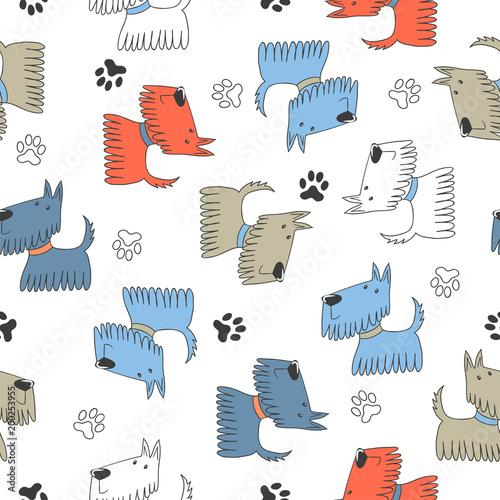 Seamless childish pattern with cute cartoon dogs.