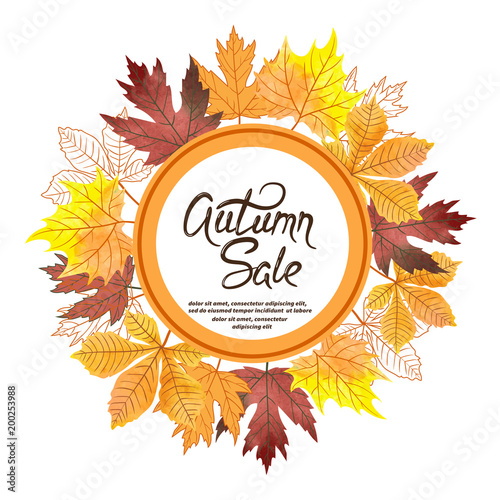 Watercolor autumn leaves vector circle sale banner.