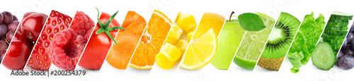 Foto op Plexiglas Verse groenten Collage of color fruits and vegetables