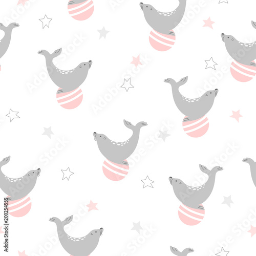 Cotton fabric Seamless circus pattern with seal on ball. Vector childish background.