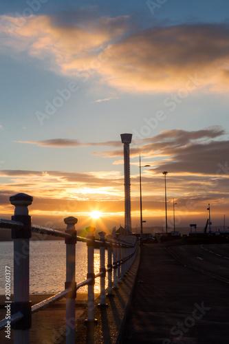 In de dag Ochtendgloren Sunrise over the Esplanade in Weymouth at Pavilion and Jurassic Skyline