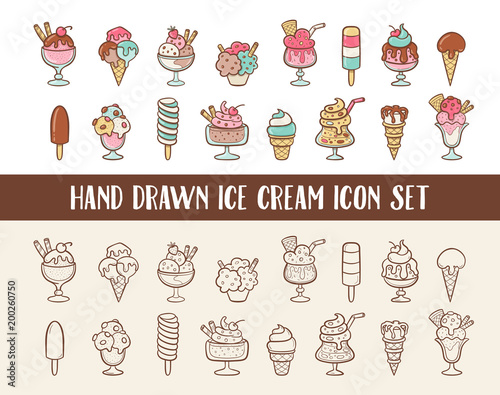Ice cream doodle icon set. Cones and ice creams with different flavours made in cartoon style. Vector illustration. - 200260750