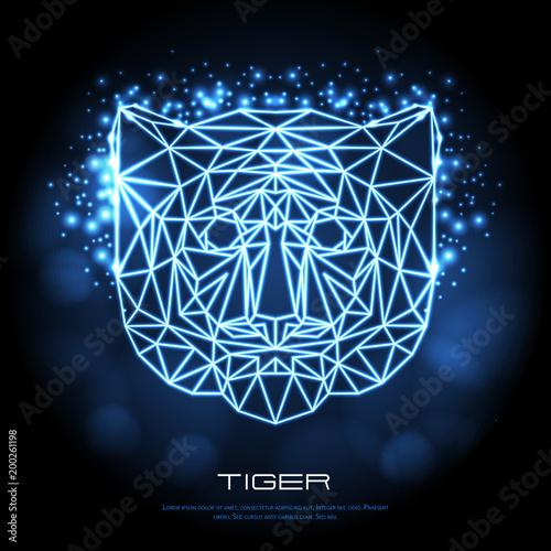Streszczenie wielokątne tygrys zwierząt tygrys neon znak. Hipster ilustracja zwierząt.