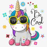 Cute unicorn with sun glasses - 200261906