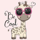 Cute Giraffe with sun glasses - 200261980