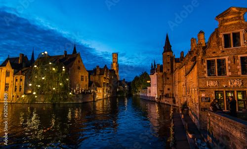 Foto op Canvas Brugge Bruges at dusk