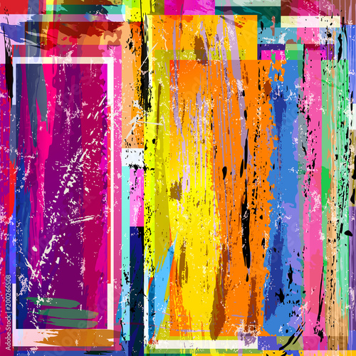 Fotobehang Abstract met Penseelstreken abstract background composition, with paint strokes, splashes and squares, grungy